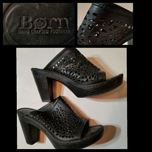 Born Edya Black Leather Perforated Clogs  8